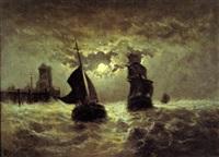 marine bij maanlicht by édouard-joris moerenhout