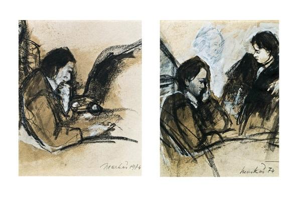 sitzende drei personen 2 works by markus vallazza