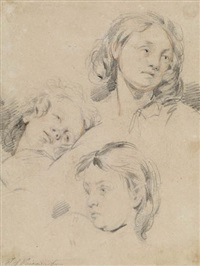 three portrait studies of a boy by jean augustin daiwaille