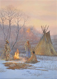 indian camp in winter by hubert wackermann