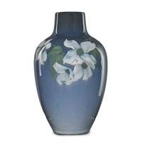 iris vase with dogwood blossoms by sallie (sara elizabeth) coyne