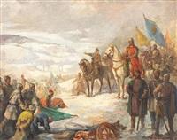 stephen the great (ștefan cel mare) in the battle from podul înalt (1574) by honorius cretulescu