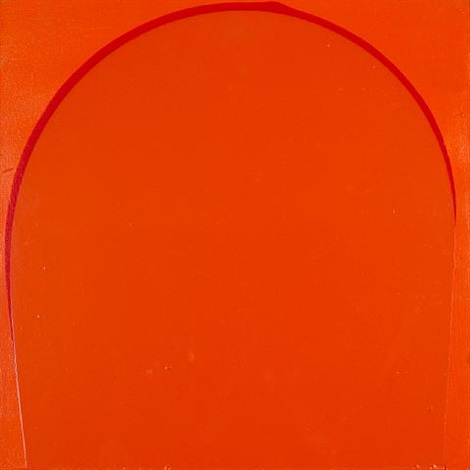 poured painting orange red orange by ian davenport