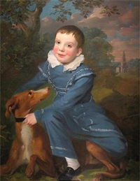 portrait of a boy with his dog in a landscape by john opie