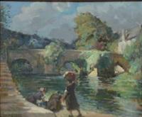 lavandieres au pied du vieux pont à quimperle by emile joseph jules simon