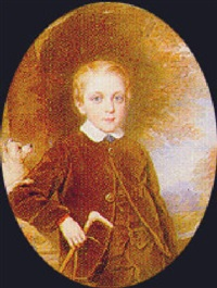 portrait of a young boy, three quarter length by reginald easton