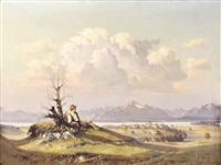bauernbub auf anhöhe, panoramablick zum untersberg und hohen staufen by hans sengthaler