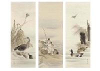 autumn, ebisu, wild goose (3 works) by kampo araki