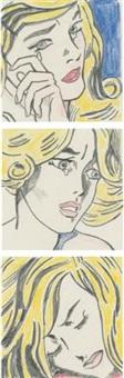 lichtenstein study for crying girl; lichtenstein study for frightened girl; lichtenstein study for sleeping girl (3 works) by sturtevant
