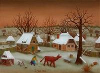 dorf im winter by ivan generalic