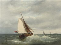 sailing on a choppy sea by johan coenraed leich