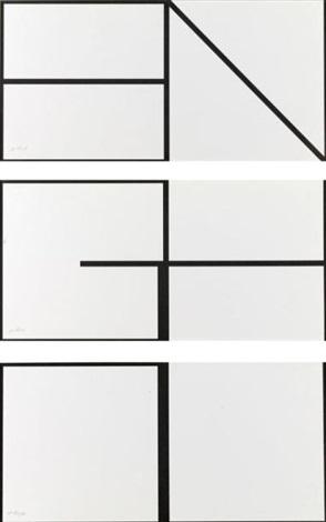 compositions en noir et blanc (triptych) by olivier mosset