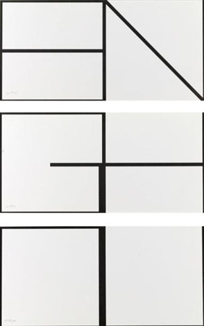 compositions en noir et blanc triptych by olivier mosset