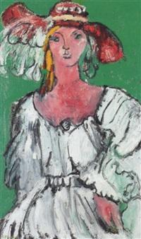 jeune femme au chapeau rouge by jean-louis piguet