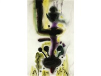 green, black and purple abstract (+ another; 2 works) by william john bertram newcombe