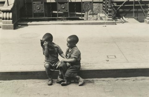 nytwo boys sitting on curb by helen levitt