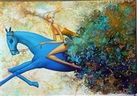 cavalière au cheval bleu by oxana yambykh