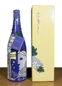 champagne taittinger bru bottle by roy lichtenstein