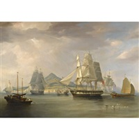 the opium ships at lintin, china by william john huggins