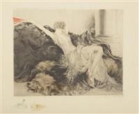 femme allongée sur une peau d'ours by louis icart