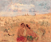 two women on the beach by adrien jean le mayeur de merprés