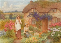 young women in a cottage garden by william affleck