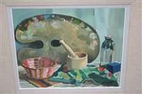 still life with palette by john coyle