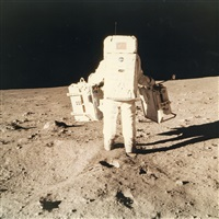 buzz aldrin carrying scientific equipment, apollo 11, july 1969 by neil armstrong