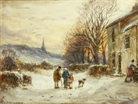 cottages at levens, near kendal; backbarrow scaur, long steddall by william manners