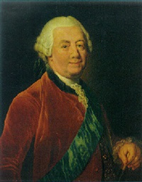 portrait of a gentleman wearing a red coat with a blue order sash by anna dorothea lisiewski