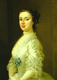 portrait of a lady (catherine sancroft?) wearing a white dress and pearl necklace and ornaments by jeremiah davison