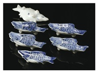 old blue-and-white style fish-shaped dishes six-pieces set by kitaoji rosanjin