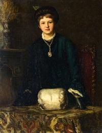 elegante jonge vrouw bij een schouw by clemence pruijs van der hoeven