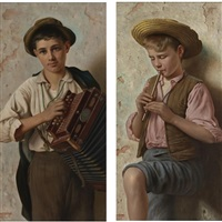 the accordian player; the piccolo player: a pair by vittorio rignano