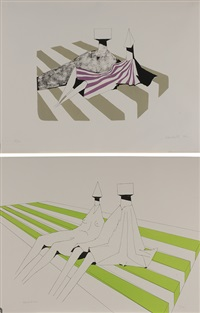 two figures on green risers and reclining figures on taupe stripes (2 works) by lynn chadwick