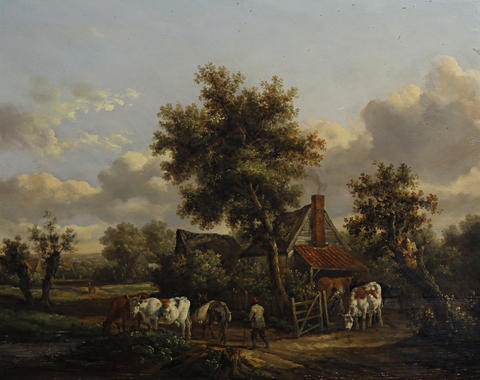 drover with cattle pair by henry milbourne