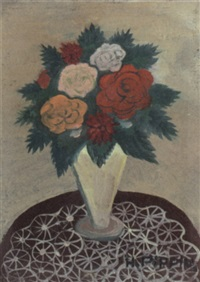 still life with flowers in a vase by horace pippin