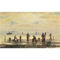 fisherfolk and young on the beach (+ fisherfolk and young on the beach; pair) by a. vescovi