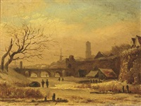 a view of utrecht in winter by arnoldus johannes eymer