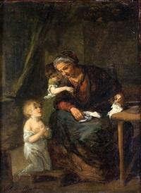 scène d'intérieur avec une femme et deux enfants by alfred van (jacques) muyden