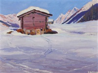 winter auf der alp by albert nyfeler