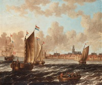 dutch ships outside a city with wall by jacobus storck