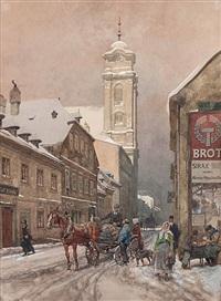 wien - ulrichskirche (maria trost) mit straßenszene im winter by franz kopallik