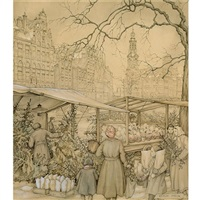 the flowermarket at the singel in amsterdam around christmas time by anton pieck