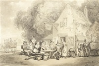 troops refreshing at the castle inn on the road to join the camp at barham downs by thomas rowlandson