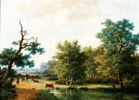 herder met koeien in boomrijk landschap by marinus adrianus koekkoek the elder
