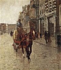 rokin westzijde: a horsedrawn cart on the rokin, amsterdam by george hendrik breitner