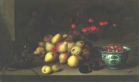 stillife of fruit, a monkey eating acorns and plums on a ledge by johannes bouman