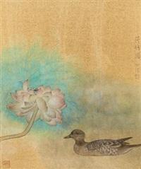 荷塘图 镜心 设色纸本 by jiang hongwei
