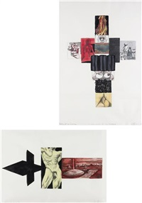 study for sword of the pig and body of a comic, 4 new works for los angeles (2 works) by robert longo